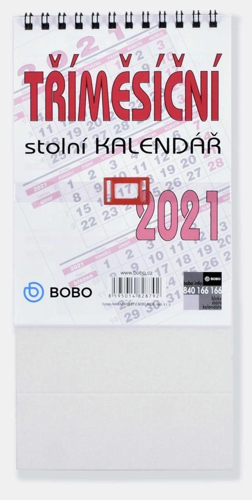 BOBO Stolní kalendář Tříměsíční 2021